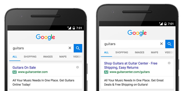 Side-by-side comparison of Google's standard ads vs. Google's new expanded text ads (photo courtesy of Google)