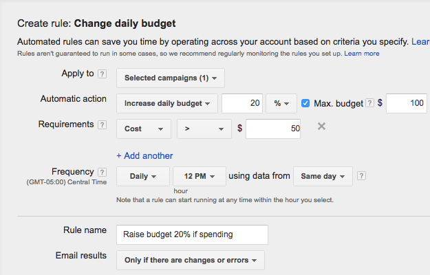 adwords ppc automated rules