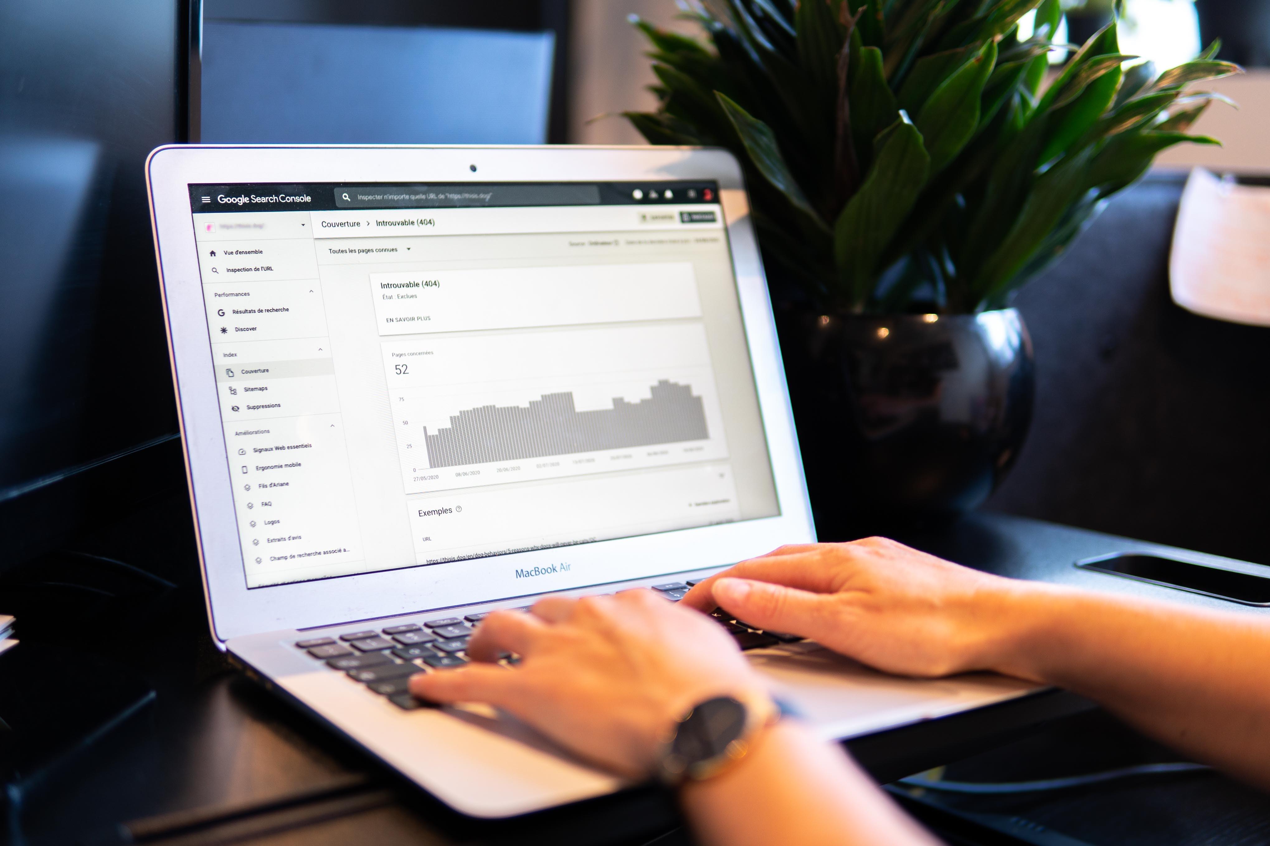 computer screen showing google analytics